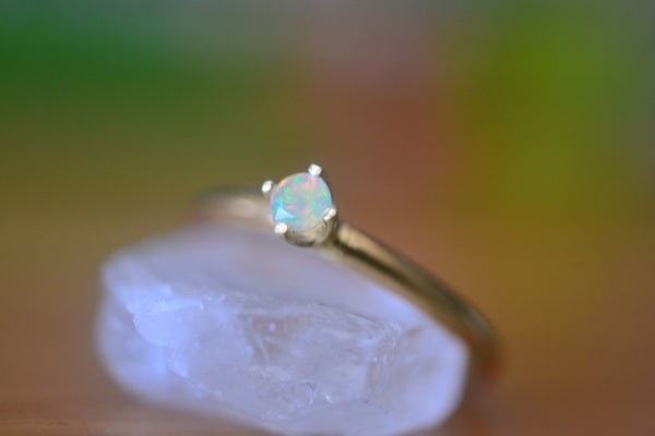 Women's Dainty Welo Opal Engagement Ring in 14K Gold