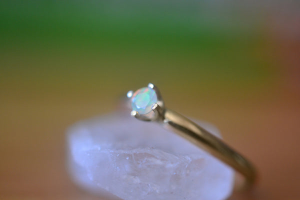 Minimalist 14K Gold Natural Ethiopian Opal Engagement Ring