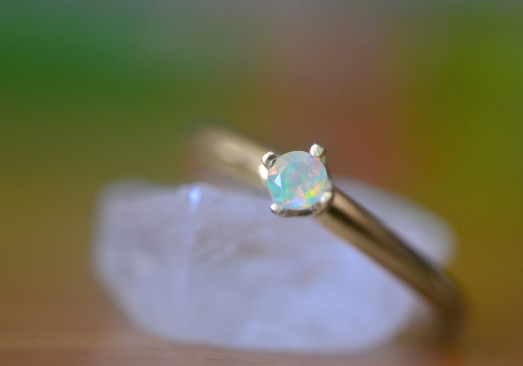 Tiny Welo Opal Engagement Ring in 14K Yellow Gold