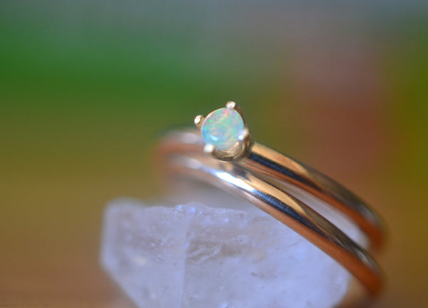 Dainty Ethiopian Opal Wedding Band Set 14K Yellow Gold