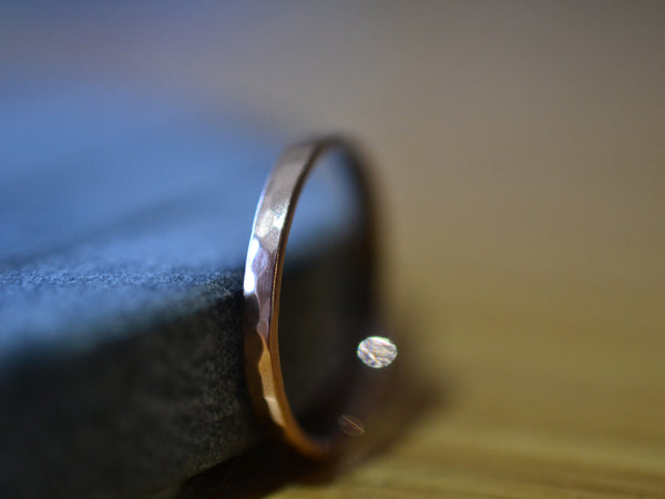 Simple 2mm Thin Eco Friendly 14K Rose Gold Wedding Band
