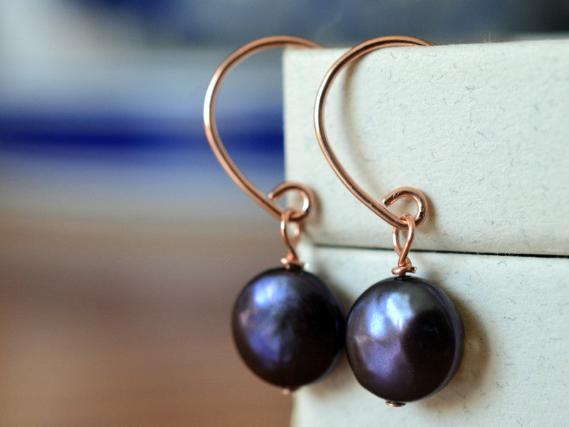 Handmade 14K Rose Gold Filled Dangly Peacock Pearl Earrings