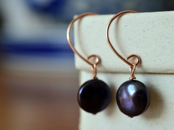 Handmade Dangly 14K Rose Gold Filled Peacock Pearl Earrings