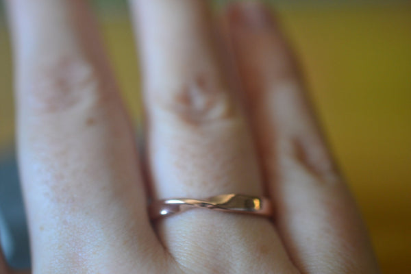 Handforged Mobius Wedding Band in Recycled 14ct Rose Gold