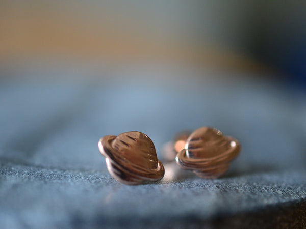 Handmade 14ct Rose Gold Saturn Studs