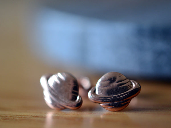 Handmade Saturn Studs in 14K Rose Gold