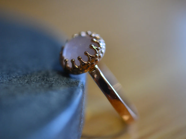 Handmade Rose Quartz Engagement Ring in 14K Pink Gold
