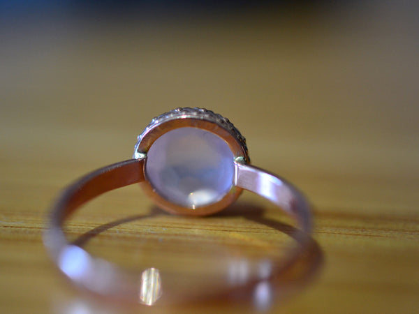 Natural Rose Quartz Engagement Ring in 14K Rose Gold