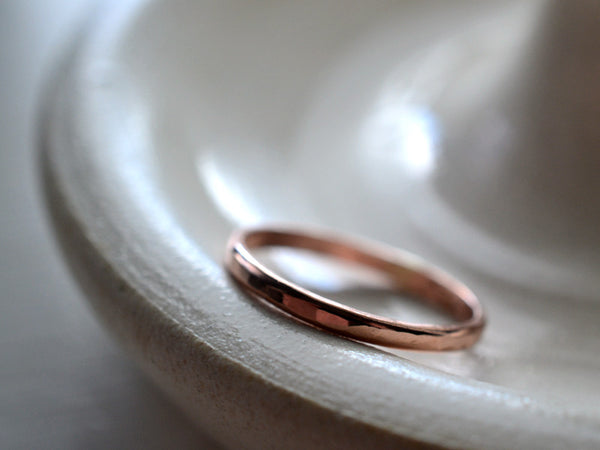Dainty Hammered 14K Rose Gold Wedding Band