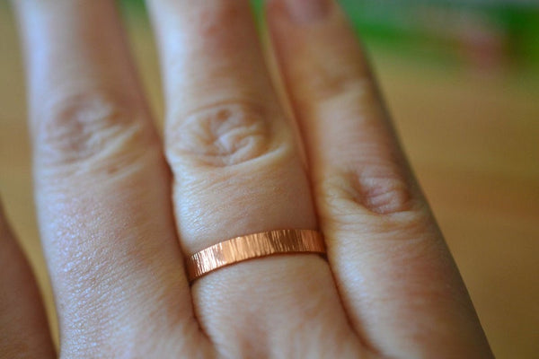 Mans Hammered Rose Gold Wedding Band in 14K