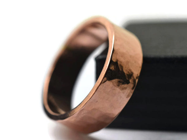 Handmade Men's 6mm Wide 14K Rose Gold Wedding Band