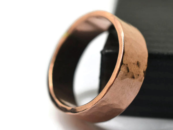 Handforged 14K Rose Gold Wedding Band for Men