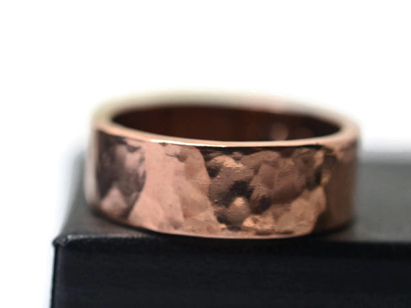 Hammered 14K Pink Gold Wide Wedding Band