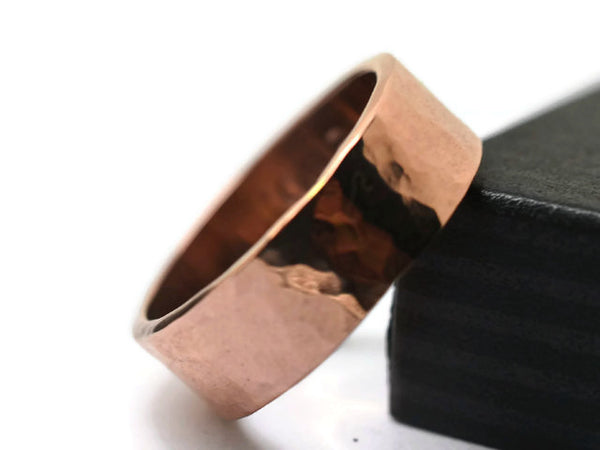 Artisan Made Hammered 6mm Wide Rose Gold Wedding Band