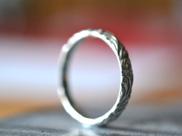 Handmade Women's 3mm Narrow 14ct White Gold Wedding Ring