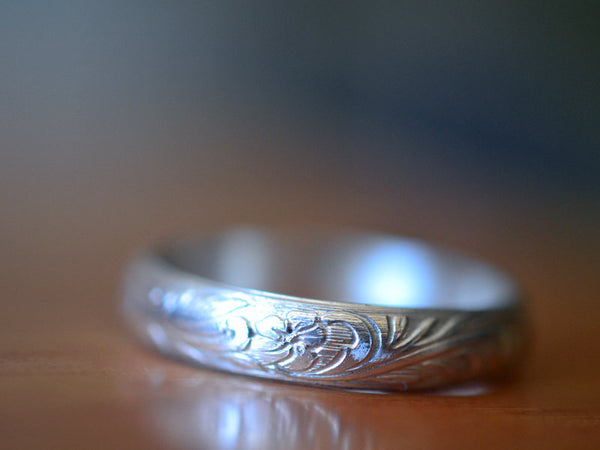 Recycled 14K White Gold Flower & Leaf Wedding Band For Men