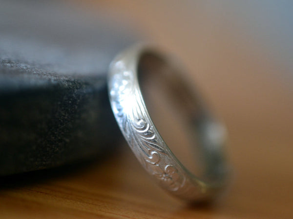Handcrafted 14K White Gold Wedding Ring With Engraving