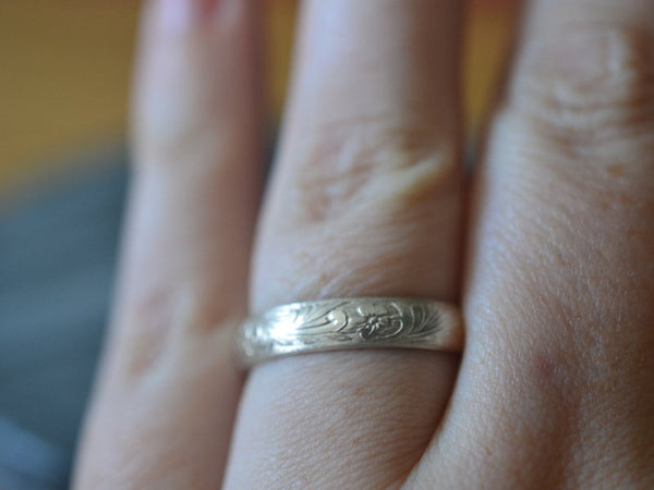 Personalised 14K White Gold Floral Leaf Wedding Band For Men