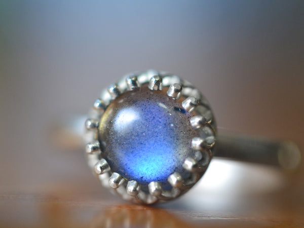 Women's Labradorite Engagement Ring in Recycled 14K White Gold
