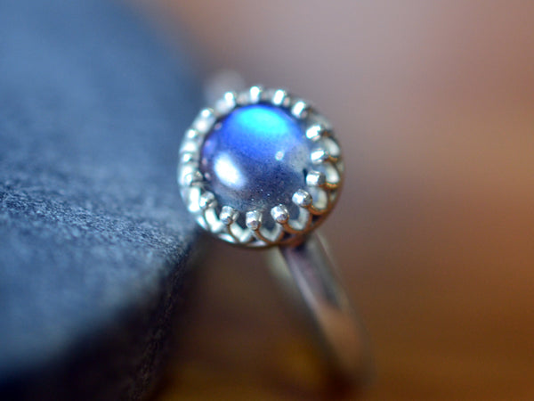 Ethical Engagement Ring in 14K White Gold With Labradorite