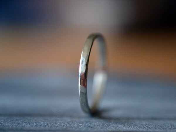 Simple Narrow Recycled 14K White Gold Stack Ring