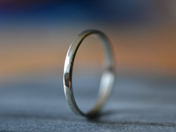 Personalised Ethical 2mm Thin 14K White Gold Wedding Band