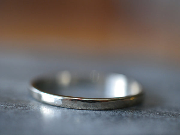 Minimalist 2mm Wide Hammered 14ct White Gold Stack Ring