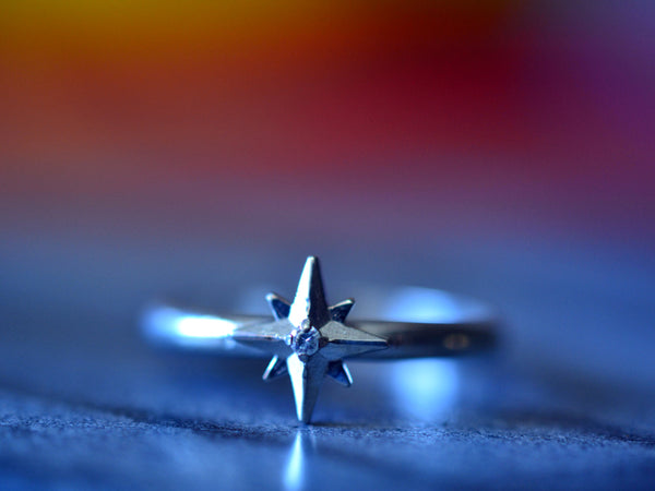 Engravable 14ct White Gold Star & Diamond Ring