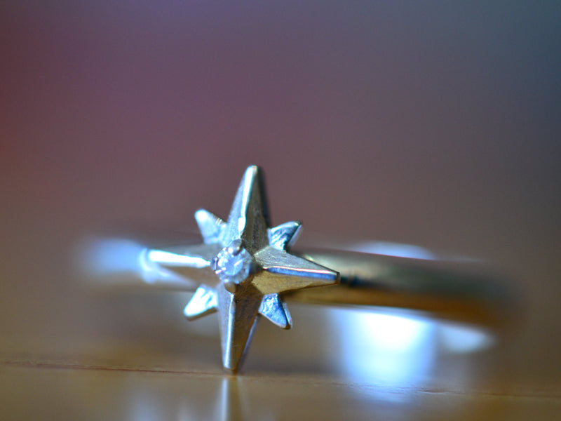 14K White Gold Star & Tiny Diamond Ring