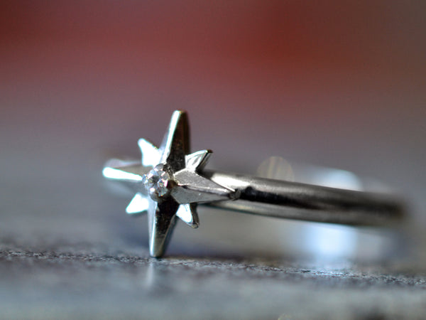Handmade 14K White Gold Star & Natural Diamond Ring