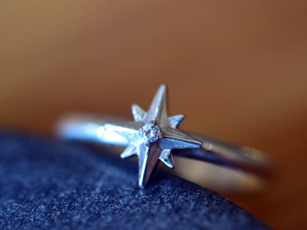 Women's 14K White Gold Star & Tiny Diamond Statement Ring