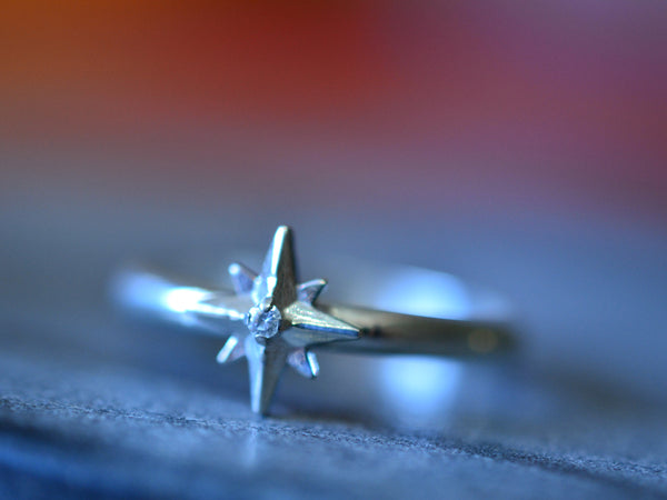 Eco Friendly Recycled White Gold Star Ring With Tiny Diamond