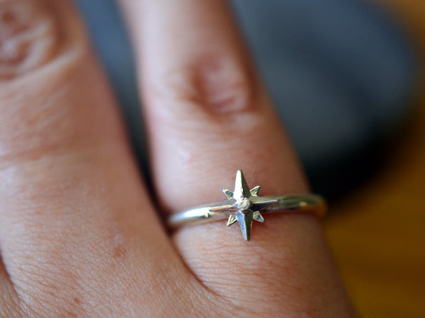 Handmade 14ct White Gold Star Ring with Tiny Diamond
