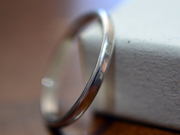 Handmade Dainty 2mm Wide 14K White Gold Wedding Band