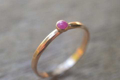 Tiny Natural Ruby Promise Ring in 14K Yellow Gold