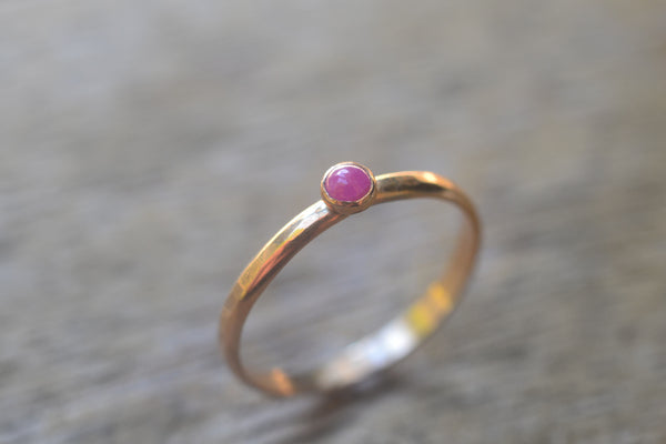 Women's Simple 14ct Yellow Gold & Ruby Cabochon Ring