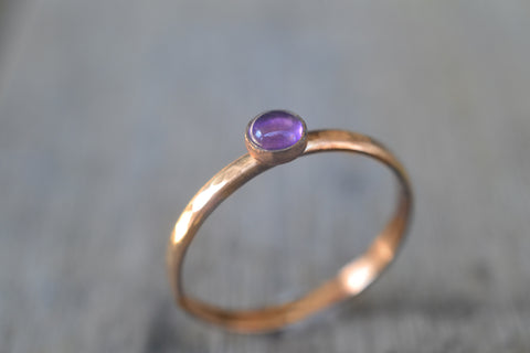 Purple Amethyst Gemstone Stack Ring in Solid 14K Yellow Gold