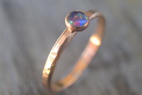 4mm Australian Opal Triplet Promise Ring in 14K Yellow Gold