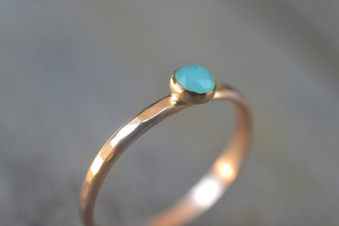 Rose Cut Peruvian Blue Opal Promise Ring in Solid 14K Gold