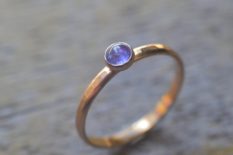 Simple Tanzanite Bezel Ring in 14K Yellow Gold