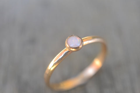 Women's Tiny White Opal Promise Ring in Solid 14k Gold