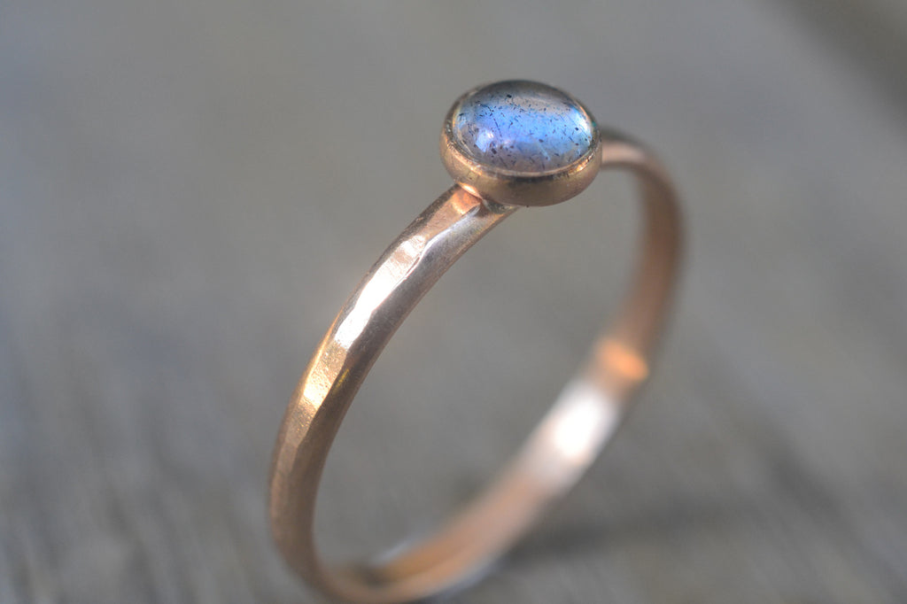 Blue Fire Labradorite Ring, Recycled 14K Yellow Gold Band, Natural Stone