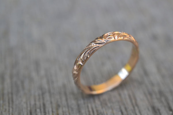 Renaissance Style 14K Yellow Gold Wedding Ring For Women