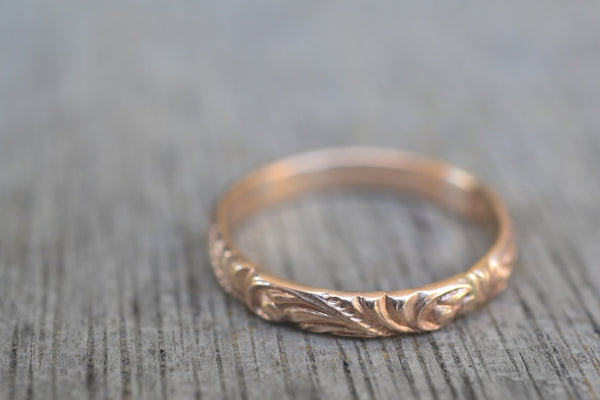 Dainty Scrollwork Wedding Ring in Solid 14ct Yellow Gold