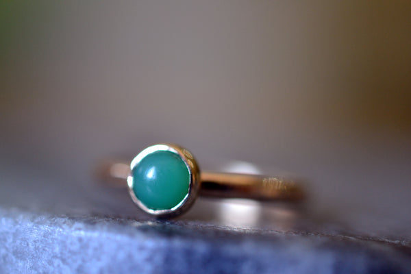 Natural Chrysoprase Ring In Recycled 14K Yellow Gold