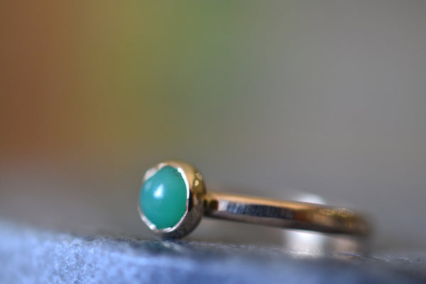 14K Yellow Gold & 5mm Chrysoprase Promise Ring