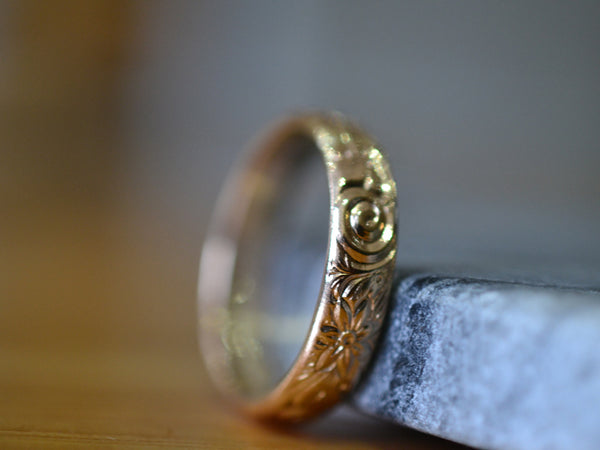14K Yellow Gold Flower Wedding Band With Embossed Design