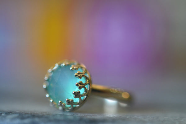 Personalised 14K Yellow Gold Peruvian Blue Opal Engagement Ring