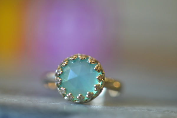 Natural Peruvian Blue Opal Engagement Ring in 14K Yellow Gold