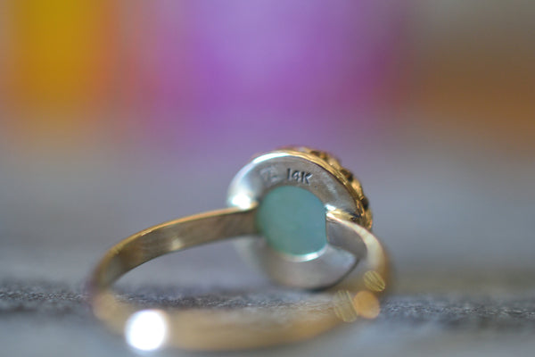 Yellow Gold Bezel Set Peruvian Opal Crystal Engagement Ring
